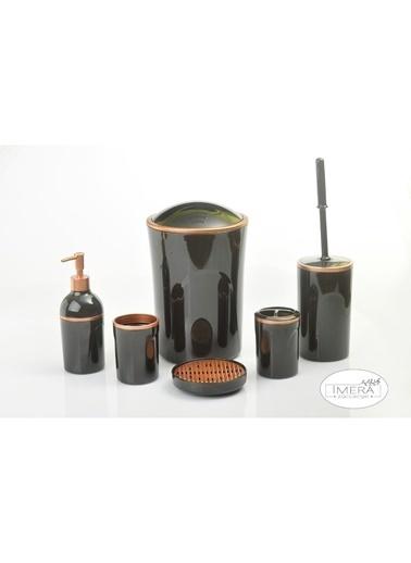 Akayev İmera 6 Parça Akrilik Siyah Altın Banyo Seti Siyah